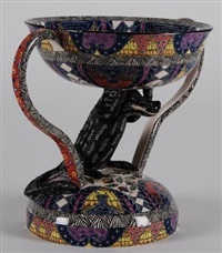 two-handle pedestal bowl (decorated by wonderboy nxumalo) by ardmore ceramics