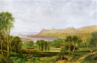 a prospect of the river clyde from dalnottar hill with shipping approaching the port of bowling, dumbarton rock beyond by allan macdougall