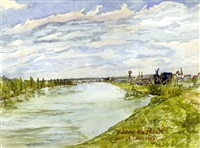 la seine au roule; pont de courcelles (+ 10 others, incl. 3 oil paintings; 11 works) by paul louis renaud