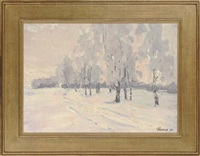 snowy landscape (+ in from the cold, 1965; 2 works) by leonid ignatevich vaishlya
