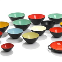 krenit bowls and one dish (13 works, various sizes) by herbert krenchel