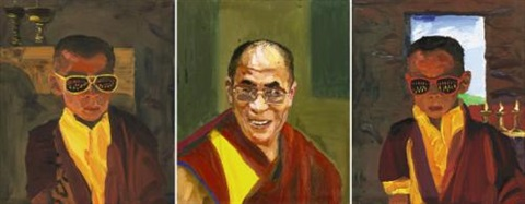 dalai lama and his disciples triptych by liu xiaodong