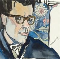 porträt des dichters michael guttenbrunner by maria lassnig