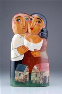 sich in den armen haltendes bauernpaar by lothar sell
