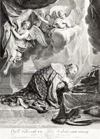 天使们观望正在祈祷的圣·刘易斯 by gérard edelinck