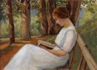 porträt von claudine jeannot auf einer parkbank by sarah jeannot