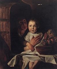 großmutter mit enkelkind neben früchtekorb by e. götzger
