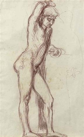 study of a male figure by hans von marées