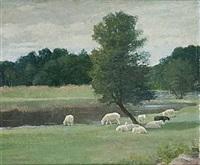 pastoralt landskap med betande får by greta gerell