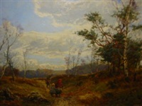 autumnal scene with faggott gatherers by william manners