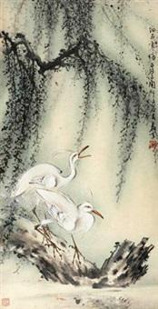 细雨寒塘白鹭闲 (cranes) by huang leisheng