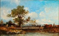 cattle by a bridge by leon victor dupré