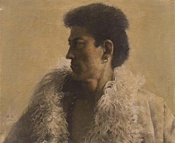西藏男子头像 (portrait of a tibetan man) by guo runwen