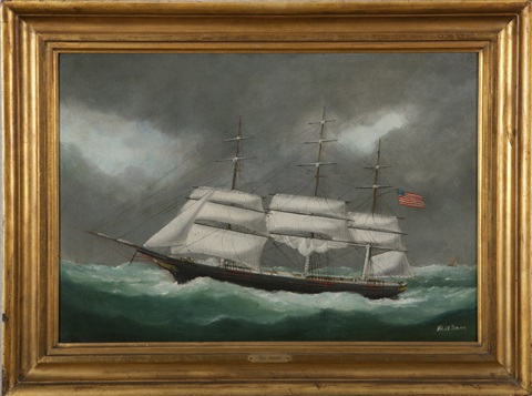 portrait of an american clipper ship by marie edouard adam