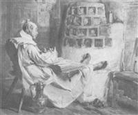 schlafender mönch mit zahnschmerzen, die füße auf der ofenbank, eine schlafende katze und einen folianten auf dem schloß by heinrich stelzner