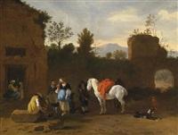 figuren und pferde vor einem wirtshaus by simon johannes van douw