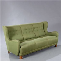 living room suite, consisting of freestanding three seater sofa and two easy chairs (set of 3) by kay fisker