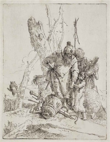 two astrologers and a boy plate 13 from scherzi by giovanni battista tiepolo