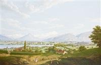 genève et le mont-blanc, vue depuis pregny by frédéric fregevize