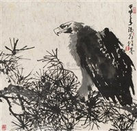 松鹰图 (eagle perched in pine) by cui ruilu