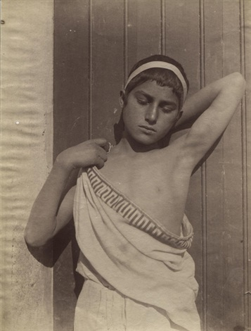 sizilianischer knabe mit stirnband und toga by baron wilhelm von gloeden