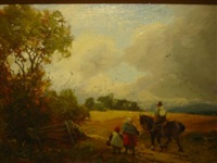workhorse and figures on a country path by william manners