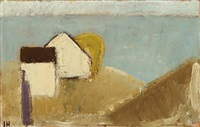 scenery with a person and houses by the sea by johannes hofmeister