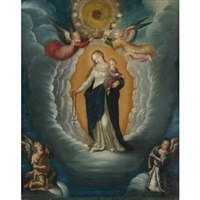madonna and child being crowned by angels by pieter lisaert iv