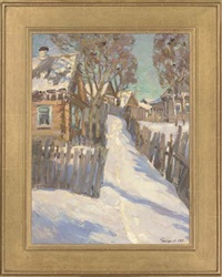 spring is coming (+ the garden covered in snow, 1965; 2 works) by leonid ignatevich vaishlya