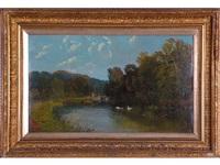 paisaje con lago y cisnes by robert weir allan