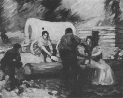 pioneers in a landscape with log cabin and prairie schooner by harry lawrence gage
