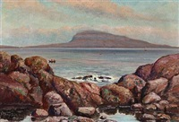 view of nólsoy, the faroe islands by joen waagstein