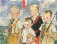 kinder in tracht by heinrich linde-walther