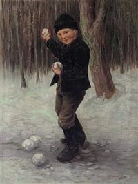 knabe mit schneebällen in winterlicher waldlandschaft by géza peske