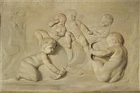 zwei kinderbacchanale mit spielenden putti (pair) by caspar franz sambach