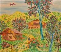 village scene in spring by michel loeb