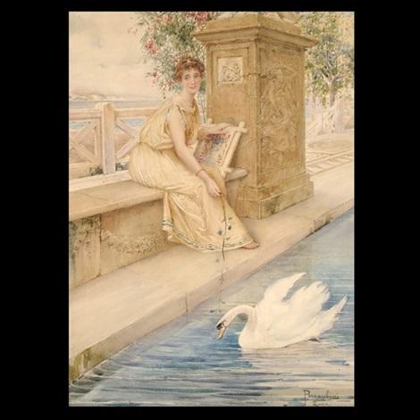 roman woman with swan by domenico pennachini