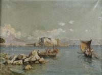fischerboote im golf von neapel. im hinterfgrund das castello dell'ovo und der vesuv by enrico huber