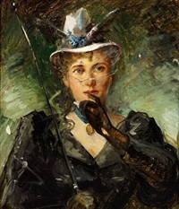 an elegant young woman with a cigarette and a whip by yuri (egor) yakovlevitch leman