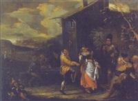 saltarello di contadini presso un casolare rustico by pietro maurizio bolckman