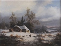 alpine winter landscape by ludwig muninger