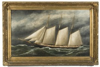 the three-masted schooner e.h. cornell by solon francis montecello badger