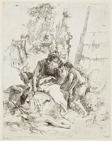 two magicians and two boys plate 14 from scherzi by giovanni battista tiepolo