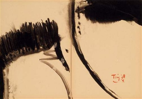 falaise et nuage (diptych) by t'ang haywen