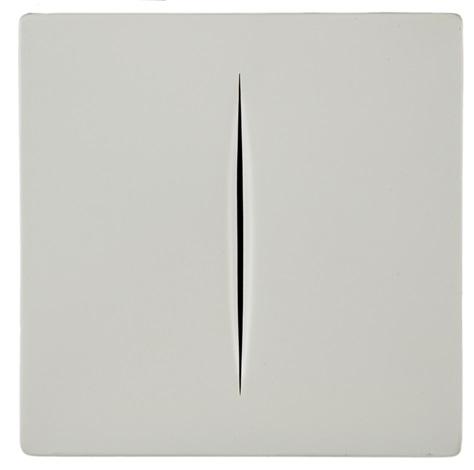 concetto spaziale white by lucio fontana