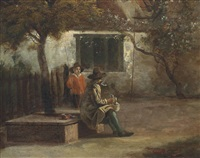 a man sitting outside a cottage smoking a pipe, with a boy holding a rod by jan gabrielsz sonje