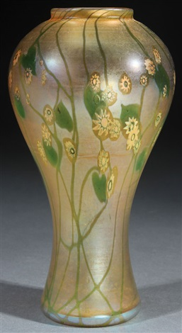 A Fine Lc Tiffany Favrile Millefiori Art Glass Vase By Louis