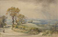 summer landscape with approaching shower by john edward newton