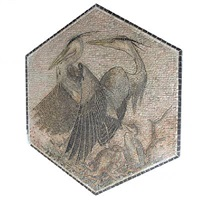 large hexagonal masaic with motifs in the shape of grey herons by kay simmelhag