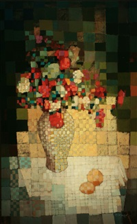 cubist still life of flowers in a vase by bernard séjourné